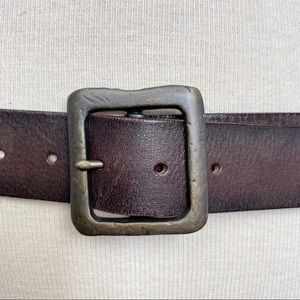 Express Accessories - Express unique brown leather & metal ring belt M
